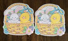 Vintage Set of 2 Easter Bunny Chick Easter Basket Shaped Vinyl Placemats NEW #Unbranded