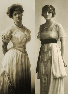 A tranformation for the waist style introduced by designer Paul Poiret; from S shape in the left side to R shaple in the right side. It released the women waist, make them more confortable but not loosing their femiline look