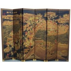 Antique Chinese Room Divider Screen 8 panel Silk 12 ft imperial