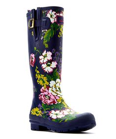 Loving this Navy Floral Welly Rain Boot - Women on #zulily! #zulilyfinds
