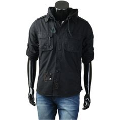 Black Big Size Mens Fashion Urban Military Style Washing Hood Long Shirts S~2XL