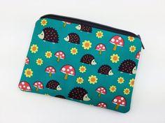 Hedgehogs Zipper Coin Purse Card Pouch Gift idea by ZestyNotion
