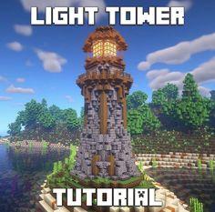 Minecraft Lighthouse, Minecraft Castle, Cute Minecraft Houses, Minecraft House Designs, Amazing Minecraft, Minecraft Building Blueprints, Minecraft Plans, Minecraft Survival, Minecraft Tutorial