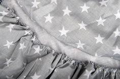 Baby Bettwäsche - Spannbetttuch- weiße Sterne auf grau - ein Designerstück von SANGOTRADE bei DaWanda