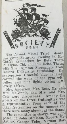 The Triad dance was one of the biggest events held on campus. Having three fraternities come together to create a school wide event promoted the ideal of coming together. The planning behind the dance was tireless in order to make the dance special. This was a highly attended event.  #MUArchives #Box1scrapbookandmemorabiliaofMildredReadnowandBleriotLamar