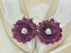 Eggplant or Plum Purple Wedding Shoe Clips with Rhinestone Accent Shabby Rose by DESIGNERSHINDIGS on Etsy