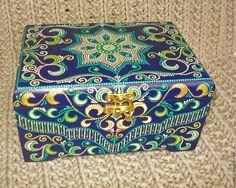 """Купить Шкатулка """"Сады Семирамиды"""" - тёмно-синий, синий, зеленый, голубой, растительный орнамент, цветы"""