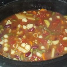 Homemade crockpot minestrone soup. I deviated from the original recipe in that I added Agave (honey like texture) instead of honey - and i added 2 cups cut fresh green beans, 1 peeled potato and a cup of frozen peas. Low fat and super super super tasty and fresh! (I did no sodium tomatoes and broth and added salt when finished).