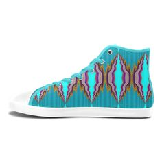 High Top Canvas Shoes for Women with light blue pattern-annabellerockz High Top Canvas Shoes for Women(Model002)