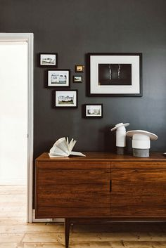 The Plumed Nest; gray wall    -----I like the grouping of the frames 3D