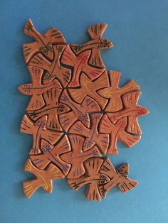For my Dad's birthday, I decided to make him a puzzle based on a tessellation  by M.C. Escher . I got the idea from a trip to the Yakima Ma...