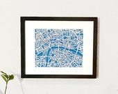 "Paper cut map of London, UK | 8x10 by CUTdesignsrt featured in ""January Blues"" treasury by twobucks1 on Etsy"