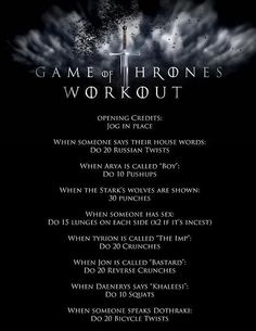 Game of Thrones | 43 Workouts That Allow You To Watch An Ungodly Amount Of Television