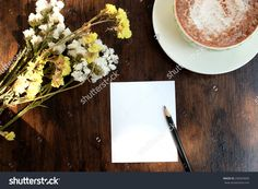 Empty Paper Note, Black Pencil And Cocoa On Black Brown Wooden Background Stock Photo 258569009 : Shutterstock