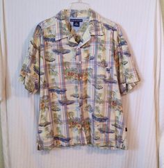 Tommy Hilfiger XL Multi-color Tropical Island Short Sleeve Button Dress Shirt  #TommyHilfiger