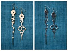 Earrings made from clock hands $30