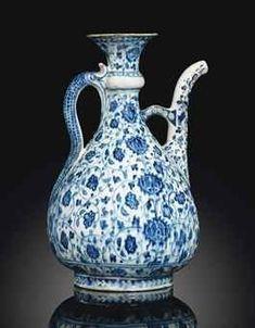 A Large 'Abraham of Kutahya' Blue and White Iznik Pottery Ewer.Ottoman Turkey, circa 1510