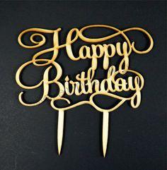 Wooden Laser Cut Happy Birthday Cake Topper << #craftylaser