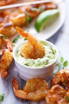 Grilled Spicy Lime Shrimp with Creamy Avocado Cilantro Sauce More