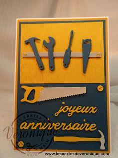 Carte 3D anniversaire homme outils de bricolage - Birthday man tools card
