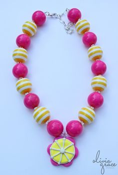 Cute necklace for a lemonade party birthday girl