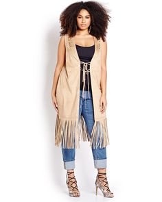adf2485fe0c96 Trendy sleeveless long vest by Love   Legend is a boho alternative to your  every day cardigan. Plus size