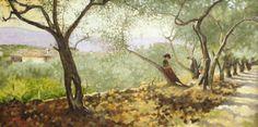 """Telemaco Signorini, """"Tra gli ulivi a Settignano"""", 1885, private collection. #Laudemio #artgallery www.laudemio.it"""