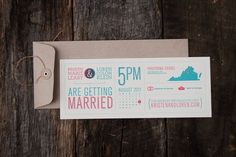 Love the little state with the place marker. And the calendar // wedding invitation