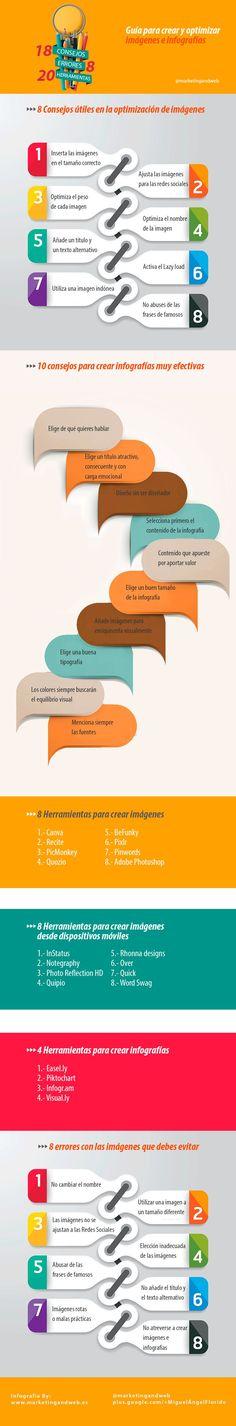 Una infografía en español con numerosos consejos, errores a evitar y herramientas para la creación y optimización de infografías e imágenes.