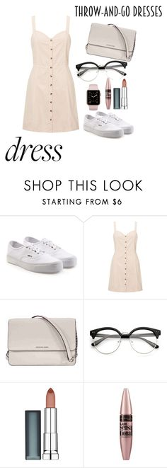 """Throw and go dress"" by sol-sunshine ❤ liked on Polyvore featuring Vans, Miss Selfridge, Michael Kors and Maybelline"