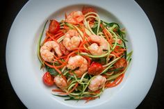 Garlic Chilli Prawns with Carrot & Courgette Noodles by Monica Shaw