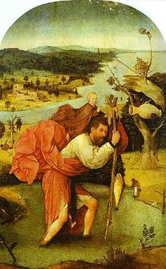 St. Christopher Carrying the Christ Child, by Hieronymus Bosch (c. 1485)