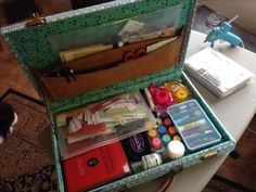 Art journal travel kit in up-cycled attaché case.