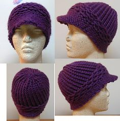 Loom knit newsboy hat / free pattern