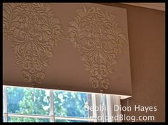Embossed Fabric Damask stencil with French Linen Chalk Paint® on window cornice by Debbie Hayes of Annie Sloan Unfolded.