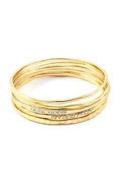 Stacked Golden Crystal Isis Bracelet