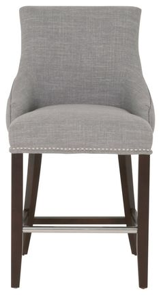 Cozy Counter Height Bar Stools with Grey Lather Cushion and Handrest on Dark Wooden Legs