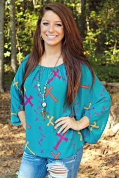 Multi Color Cross Top - Teal $41.99 #SouthernFriedChics