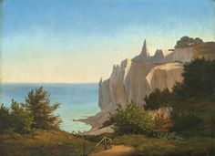 P. C. (Peter Christian) Skovgaard  Near Ringstedt 1817 – 1875 Copenhagen    DIE KREIDEFELSEN VON MØNS KLINT  1848. Oil on canvas. 26 x 36 cm (10 ¼ x 14 ⅛ in.)  On the stretcher, in pen in black (by the artist?), inscribed at the top and dated at the bottom: Parti af Möens Klint May 1848.