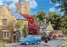 Stunning At The Vicarage wall mural from Wallsauce. This high quality At The Vicarage wallpaper is custom made to your dimensions. Easy to order and install plus free UK delivery. FREE UK delivery within 2 to 4 working days. Nostalgic Art, English Village, Puzzle Art, Vintage Artwork, Art Challenge, Vintage Travel Posters, Watercolor Illustration, Country Life, Home Art