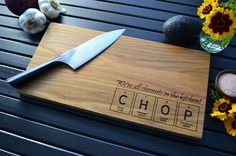 Wood Cutting Board Engraved Periodic Table of the Elements Design - CHOP - Science Gift, Geekery, Kitchen Art, Chemistry Gift