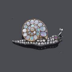 A late 19th century opal and diamond snail brooch,
