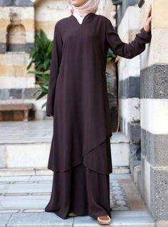 """Falling in love with this abaya is all too easy. A sweet v-neck, petal like layers and an exquisite cut will have you head over heels for this unique design. Feminine and flattering, this piece is perfect for when you need that something """"special"""". Hijab Style Dress, Hijab Wear, Abaya Fashion, Modest Fashion, Fashion Outfits, Moslem Fashion, Abaya Designs, Hijab Fashion Inspiration, Muslim Dress"""