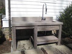 Wood Base and vanity sink by Trueform Concrete Kitchen Sink Design, Farmhouse Sink Kitchen, Farm Sink, Outdoor Kitchen Design, Design Bathroom, Kitchen Designs, Concrete Sink, Concrete Bathroom, Concrete Countertops