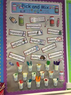 'Pick and Mix' board of synonyms Classroom Displays Ks2, English Classroom Displays, Primary School Displays, Literacy Display, Classroom Display Boards, Class Displays, Classroom Bulletin Boards, Classroom Setting, Classroom Decor