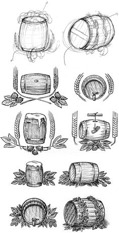 A little while ago, I found myself sketching quite a few images, trying to capture the ideal beer barrel illustration for my client. Beer Keg, Beer Hops, Wine Logo, Beer Quotes, Cute Doodles, Illustration, Chalkboard Art, Best Beer, Pyrography