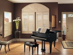 Product: Wood Shutters Color: 1683 Options Shown:Elongated Arch over Standard Panels (left) and Café Panels (right). Standard and Café Panels with 2 Louvers, L-Frame, Astragal and Hide-a-Tilt®. Elongated Arch with L-Frame. All in Dover White Interior Shutters, Home, Cheap Windows, Custom Blinds, Blinds, Arched Window Treatments, Window Coverings, Aluminum Blinds, Blinds For Windows