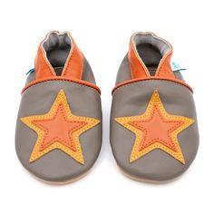 2673c572bf2 Khaki grey with orange Star – Dotty Fish Soft Leather Baby and Toddler  Shoes Toddler Shoes
