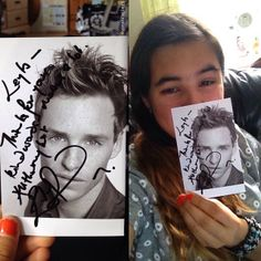 I sent a fan letter to Eddie Redmayne not expecting him to reply, AND HE SENT BACK A PHOTO WITH A MESSAGE ON WITH HIS SIGNATURE. THIS IS A PHOTO HE HAS TOUCHED AND A MESSAGE HE HIMSELF HAS WRITTEN, I AM CRYING WHERE I AM SO HAPPY, MY LIFE IS COMPLETE. Now just to meet him... leyla_natasha http://instagram.com/p/pOjoHXr3W_/ via https://twitter.com/bespokeredmayne/status/477818542838906880