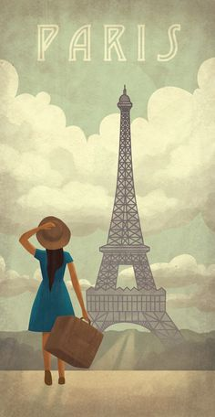 Woman Looking at the Eiffel Tower, Paris vintage travel poster Paris Girl, I Love Paris, Kunst Poster, Poster S, Paris Illustration, Illustrations, Tour Eiffel, Vintage Travel Posters, Retro Posters